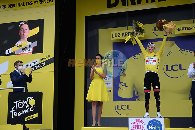 Tadej Pogacar (SLO) UAE Team Emirates wins Stage 18 and retains the race leaders Yellow Jersey of the 2021 Tour de France, running 129.7km from Pau to Luz-Ardiden, France. 15th July 2021.  <br /> Picture: Colin Flockton | Cyclefile<br /> <br /> All photos usage must carry mandatory copyright credit (© Cyclefile | Colin Flockton)