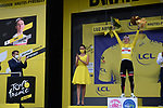 Tadej Pogacar (SLO) UAE Team Emirates wins Stage 18 and retains the race leaders Yellow Jersey of the 2021 Tour de France, running 129.7km from Pau to Luz-Ardiden, France. 15th July 2021.  <br /> Picture: Colin Flockton   Cyclefile<br /> <br /> All photos usage must carry mandatory copyright credit (© Cyclefile   Colin Flockton)
