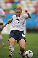 US National Team Defender Rachel Buehler blocks a ball against Norway in Olhao, Portugal during the 2010 Algarve Cup.