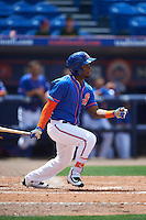 St. Lucie Mets left fielder John Mora (4) at bat during a game against the Brevard County Manatees on April 17, 2016 at Tradition Field in Port St. Lucie, Florida.  Brevard County defeated St. Lucie 13-0.  (Mike Janes/Four Seam Images)