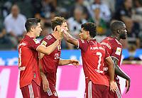 jubilation Robert LEWANDOWSKI (M) after his goal to 1: 1, left to right Robert LEWANDOWSKI (M), Leon GORETZKA (M), Serge GNABRY (M), Dayot UPAMECANO (M) Soccer 1. Bundesliga, 01.matchday, Borussia Monchengladbach (MG) - FC Bayern Munich (M), on August 13th, 2021 in Borussia Monchengladbach / Germany. #DFL regulations prohibit any use of photographs as image sequences and / or quasi-video # Â