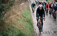 Lars Boom (NED/Roompot - Charles) over the cobbles of the Holle Weg<br /> <br /> 71th Kuurne-Brussel-Kuurne 2019 <br /> Kuurne to Kuurne (BEL): 201km<br /> <br /> ©kramon