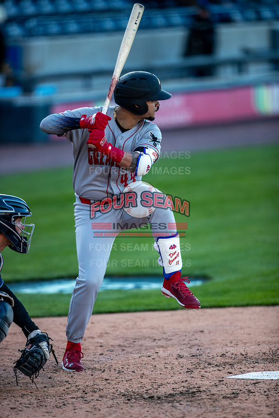Great Lakes Loons outfielder Andy Pages (44) at bat against the West Michigan Whitecaps at LMCU Ballpark on May 11, 2021 in Comstock Park, Michigan. (Andrew Woolley/Four Seam Images)
