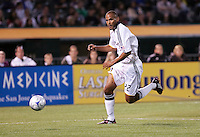 Tony Sanneh dribbles the ball. San Jose Earthquakes tied Los Angeles Galaxy 1-1 at the McAfee Colisum in Oakland, California on April 18, 2009.