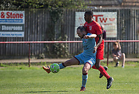 Brett James of Tuffley Rovers & Niran Butler of Flackwell Heath during the UHLSport Hellenic Premier League match between Flackwell Heath v Tuffley Rovers at Wilks Park, Flackwell Heath, England on 20 April 2019. Photo by Andy Rowland.
