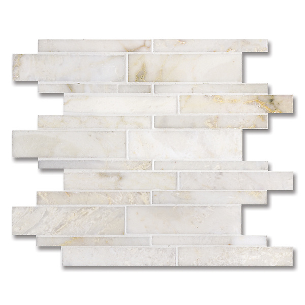Del Greco, shown in a mix of honed and polished Cloud Nine is part of New Ravenna's Studio Line of ready to ship mosaics.