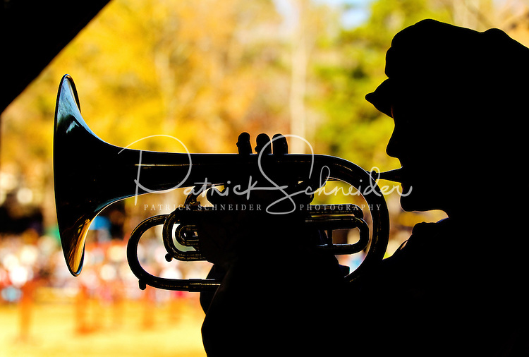 An actor plays the trumpet at the annual Carolina Renaissance Festival in November 2011. The annual Renaissance Festival and Fair takes place each October and November in Huntersville, NC, near Charlotte, NC.