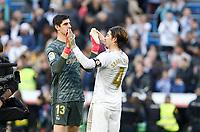 Real Madrid CF's Tibaut Courtois  and Real Madrid CF's Sergio Ramos celebs victpory during La Liga match. Feb 01, 2020. (ALTERPHOTOS/Manu R.B.)<br /> 01/02/2020 <br /> Liga Spagna 2019/2020 <br /> Real Madrid - Atletico Madrid  <br /> Foto Alterphotos / Insidefoto <br /> ITALY ONLY