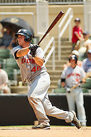 David Freitas #46 of the Hagerstown Suns follows through on his swing against the Kannapolis Intimidators at Fieldcrest Cannon Stadium on May 30, 2011 in Kannapolis, North Carolina.   Photo by Brian Westerholt / Four Seam Images