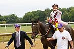 July 21, 2012  Royal Delta, Mike Smith up, wins the Delaware Handicap at  Delaware Park, Stanton, DE. Trainer is William Mott. ©Joan Fairman Kanes/Eclipse Sportswire