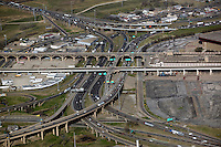 aerial photography of the Houston Viaduct and Jefferson Blvd Trinity river crossings at the interchange of US route 77 and interstate I-80, Dallas, Texas