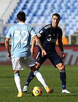 Football, Serie A: S.S. Lazio - Juventus Olympic stadium, Rome, November 8, 2020. <br /> Juventus' Cristiano Ronaldo (r) in action with Lazio's Danilo Cataldi (l) during the Italian Serie A football match between Lazio and Juventus at Olympic stadium in Rome, on November 8, 2020.<br /> UPDATE IMAGES PRESS/Isabella Bonotto