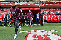 (L-R) Kyle Naughton and Oli McBurnie of Swansea City exit the tunnel during the Sky Bet Championship match between Middlesbrough and Swansea City at the Riverside Stadium, Middlesbrough, England, UK. Saturday 22 September 2018