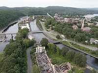 Turners Falls, MA mills and canal aerial Connecticut River hydro
