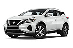 Stock pictures of low aggressive front three quarter view of 2020 Nissan Murano SV 5 Door SUV Low Aggressive