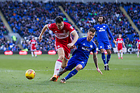 Stewart Downing of Middlesbrough is tackled by Joe Bennett of Cardiff City during the Sky Bet Championship match between Cardiff City and Middlesbrough at the Cardiff City Stadium, Cardiff, Wales on 17 February 2018. Photo by Mark Hawkins / PRiME Media Images.