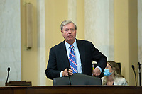United States Senator Lindsey Graham (Republican of South Carolina) arrives to a United States Senate Committee on the Budget business meeting at the United States Capitol in Washington D.C., U.S., on Thursday, June 11, 2020, as they consider the nomination of Director, Office of Management and Budget (OMB) Russell Vought to be White House Office of Management and Budget.  Credit: Stefani Reynolds / CNP/AdMedia