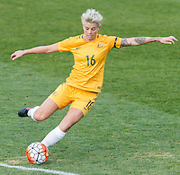 June 4, 2016: MICHELLE HEYMAN (16) of Australia kicks the ball during an international friendly match between the Australian Matildas and the New Zealand Football Ferns as part of the teams' preparation for the Rio Olympic Games at Morshead Park in Ballarat. Photo Sydney Low