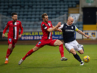 19th December 2020; Dens Park, Dundee, Scotland; Scottish Championship Football, Dundee FC versus Dunfermline; Steven Whittaker of Dunfermline Athletic challenges to block the shot from Charlie Adam of Dundee
