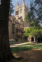 AJ4385, Yale, university, college, campus, tower, New Haven, Connecticut, Yale University, Wrexham Tower at the Memorial Quadrangle at Yale University in New Haven in the state of Connecticut.