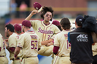 Drew Mendoza (22) of the Florida State Seminoles is lifted into the air by a teammate after their win over the North Carolina Tar Heels during the 2017 ACC Baseball Championship Game at Louisville Slugger Field on May 28, 2017 in Louisville, Kentucky.  The Seminoles defeated the Tar Heels 7-3.  (Brian Westerholt/Four Seam Images)
