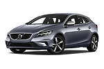 Stock pictures of low aggressive front three quarter view of a 2018 Volvo V40 R-Design 5 Door Hatchback