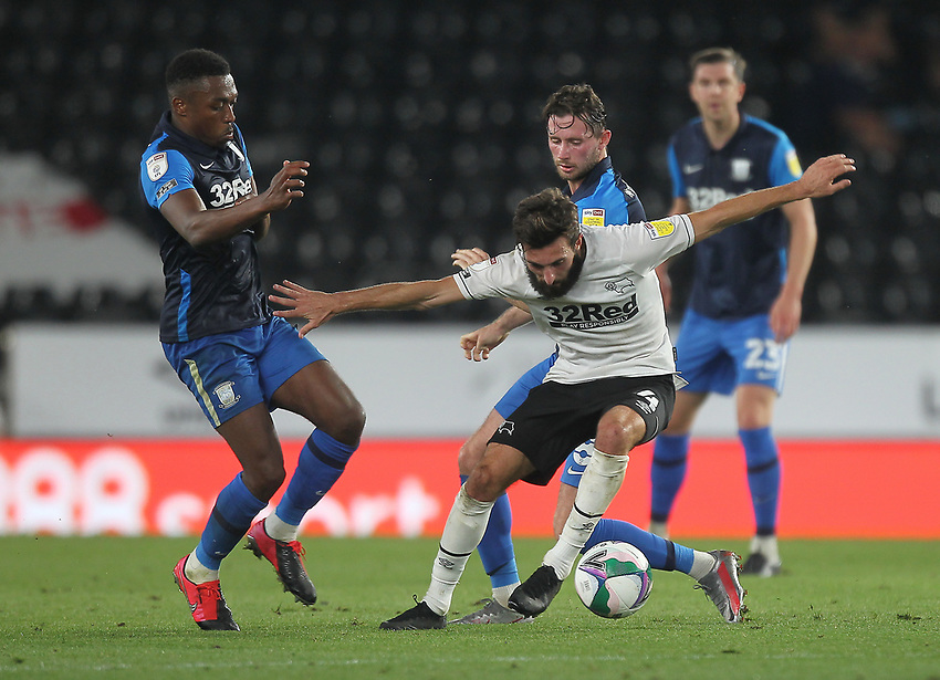 Preston North End's Darnell Fisher battles with  Derby County's Graeme Shinnie<br /> <br /> Photographer Mick Walker/CameraSport<br /> <br /> Carabao Cup Second Round Northern Section - Derby County v Preston North End - Tuesday 15th September 2020 - Pride Park Stadium - Derby<br />  <br /> World Copyright © 2020 CameraSport. All rights reserved. 43 Linden Ave. Countesthorpe. Leicester. England. LE8 5PG - Tel: +44 (0) 116 277 4147 - admin@camerasport.com - www.camerasport.com
