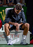 SHANGHAI, CHINA - OCTOBER 17:  Roger Federer of Switzerland sits on the bench at the end of his singles final match against Andy Murray of Great Britain during day seven of the 2010 Shanghai Rolex Masters at the Shanghai Qi Zhong Tennis Center on October 17, 2010 in Shanghai, China.  (Photo by Victor Fraile/The Power of Sport Images) *** Local Caption *** Roger Federer