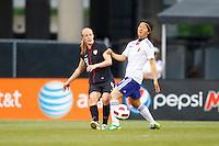 14 MAY 2011: USA Women's National Team defender Becky Sauerbrunn (3) and Japan National team Yuki Nagasato during the International Friendly soccer match between Japan WNT vs USA WNT at Crew Stadium in Columbus, Ohio.