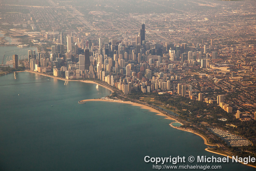CHICAGO, IL -- AUGUST 13, 2015:  An aerial view of  Chicago, early Thursday morning, August 13, 2015.  PHOTOGRAPH BY MICHAEL NAGLE