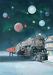 """Pennsylvania Railroad K4 #1361 steam locomotive stopped at the station in  a decorative Christams image. Oil on canvas, 21"""" x 15""""."""