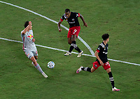 WASHINGTON, DC - SEPTEMBER 12: Ola Kamara #9 of D.C. United takes a shot during a game between New York Red Bulls and D.C. United at Audi Field on September 12, 2020 in Washington, DC.