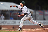 Augusta GreenJackets pitcher EJ Encinosa (48) delivers a pitch during a game against the Asheville Tourists on April 28, 2015 in Asheville, North Carolina. The Tourists defeated the GreenJackets 7-3. (Tony Farlow/Four Seam Images)