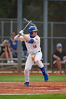 Pitt Panthers Matt Tarabek (18) bats during the teams opening game of the season against the Indiana State Sycamores on February 19, 2021 at North Charlotte Regional Park in Port Charlotte, Florida.  (Mike Janes/Four Seam Images)