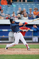 Syracuse Chiefs center fielder Matt Reynolds (1) follows through on a swing during a game against the Lehigh Valley IronPigs on May 20, 2018 at NBT Bank Stadium in Syracuse, New York.  Lehigh Valley defeated Syracuse 5-2.  (Mike Janes/Four Seam Images)