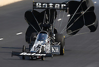 Jul. 19, 2014; Morrison, CO, USA; NHRA top fuel driver Shawn Langdon during qualifying for the Mile High Nationals at Bandimere Speedway. Mandatory Credit: Mark J. Rebilas-