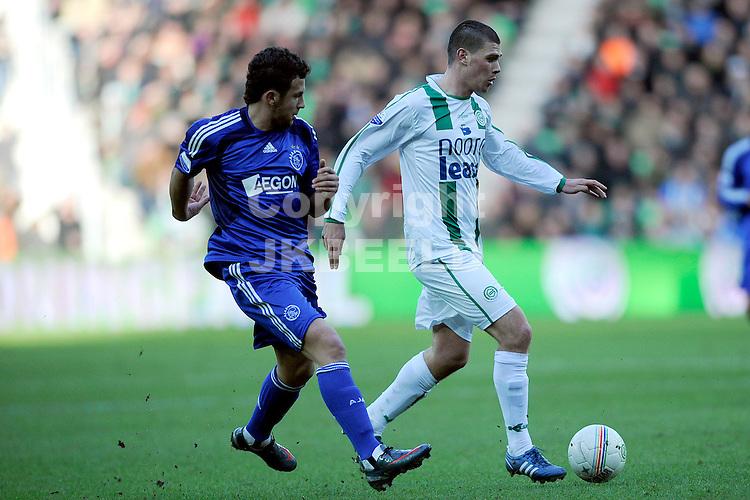 voetbal fc groningen - ajax eredivisie seizoen 2008-2009 25-01-2009 suljemani met danny holla. fotograaf jan kanning. . .