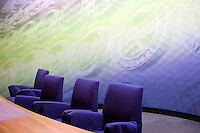 The interview room at Wimbledon, The All England Lawn Tennis Club (AELTC), London. Players are contractually obliged to attend interviews here after completing their matches.