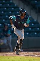 Will Benson (16) of the Lynchburg Hillcats hustles down the first base line against the Winston-Salem Rayados at BB&T Ballpark on June 23, 2019 in Winston-Salem, North Carolina. The Hillcats defeated the Rayados 12-9 in 11 innings. (Brian Westerholt/Four Seam Images)