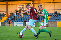 Killian Cooper of Cobh Ramblers with Alec Byrne of Cork City.<br /> <br /> Cobh Ramblers v Cork City, SSE Airtricity League Division 1, 28/5/21, St. Colman's Park, Cobh.<br /> <br /> Copyright Steve Alfred 2021.
