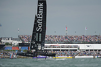 SoftBank Team Japan, JULY 24, 2016 - Sailing: SoftBank Team Japan up on her foils in front of a capacity crowd during day two of the Louis Vuitton America's Cup World Series racing, Portsmouth, United Kingdom. (Photo by Rob Munro/Stewart Communications)