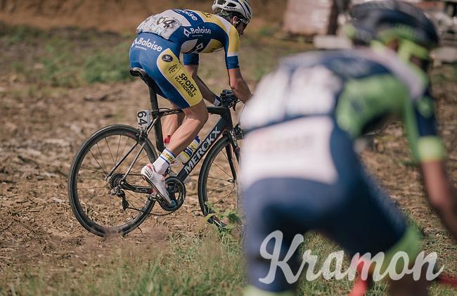 Emiel Planckaert (BEL/Sport Vlaanderen - Baloise) taking the 'off-road' spirit of this race one step further... <br /> <br /> <br /> 3rd Dwars Door Het hageland 2018 (BEL)<br /> 1 day race:  Aarschot > Diest: 198km