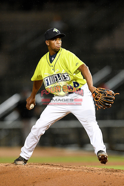 Pitcher Willy Taveras (40) of the Columbia Fireflies delivers a pitch in a game against the Hickory Crawdads on Tuesday, August 27, 2019, at Segra Park in Columbia, South Carolina. Columbia won, 3-2. (Tom Priddy/Four Seam Images)
