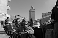 Sebha, Libya, March 30, 2011..Thousands of African workers wait for trucks or buses to return to Chad or Niger as well as other African countries. As a consequence of the civil war, Libya industrial and construction activities have ground to a standstill..