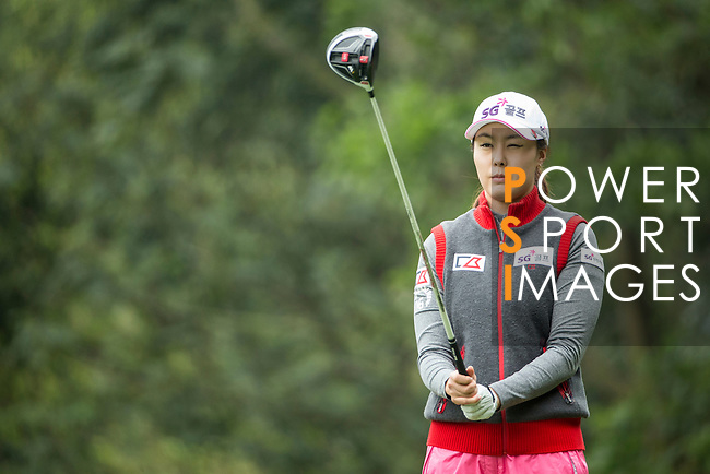 Ye-Na Chung of South Korea tees off the 14th hole during Round 2 of the World Ladies Championship 2016 on 11 March 2016 at Mission Hills Olazabal Golf Course in Dongguan, China. Photo by Victor Fraile / Power Sport Images