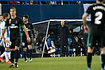 Leganes vs Real Madrid coach Zinedine Zidane dejected during Copa del Rey  match. A quarter of final go. 20180118.