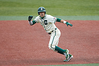 Jack Dragum (6) of the Charlotte 49ers takes off for second base against the Tennessee Volunteers at Hayes Stadium on March 9, 2021 in Charlotte, North Carolina. The 49ers defeated the Volunteers 9-0. (Brian Westerholt/Four Seam Images)