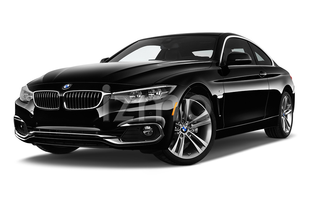 Stock pictures of low aggressive front three quarter view of a 2020 BMW 4 Series 430i Coupe 2 Door Coupe