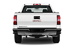 Straight rear view of 2017 GMC Sierra-1500 Double-Cab 4 Door Pickup Rear View  stock images