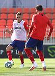 Atletico de Madrid's Santiago Arias (l) and Alvaro Morata during training session. June 9,2020.(ALTERPHOTOS/Atletico de Madrid/Pool)